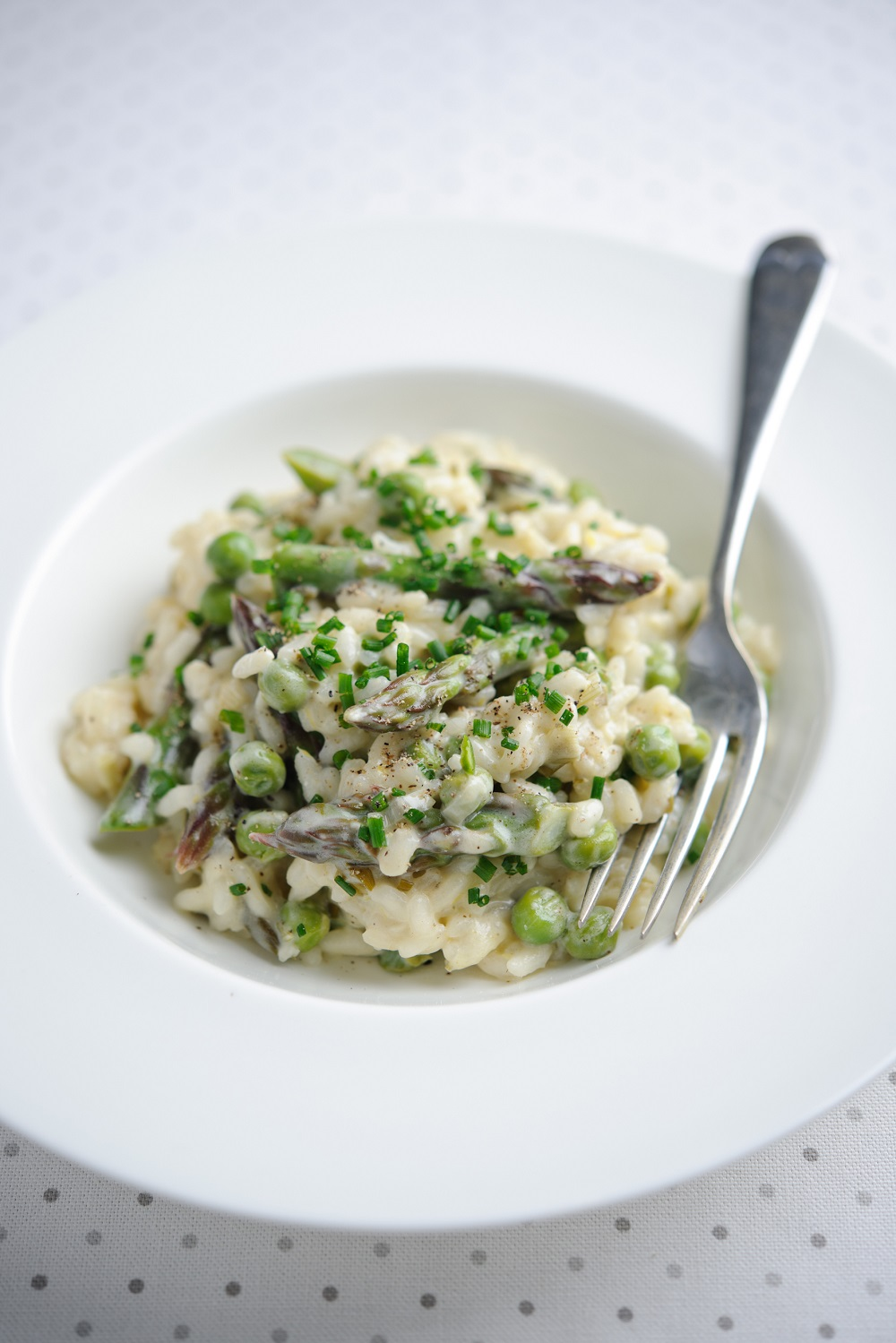 Asparagus And Pea Risotto With Lemon And Crème Fraiche