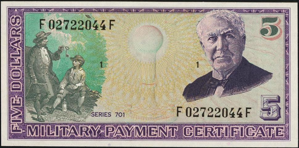 5 Dollars Military Payment Certificate, MPC Series 701 Thomas Edison