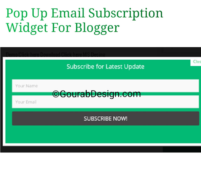 Pop up email Subscription box for bloggert