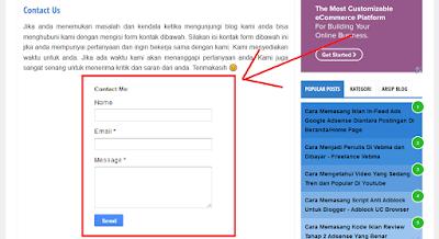 Cara Membuat Laman Contact Form Blogger - Laman Formulir Contact