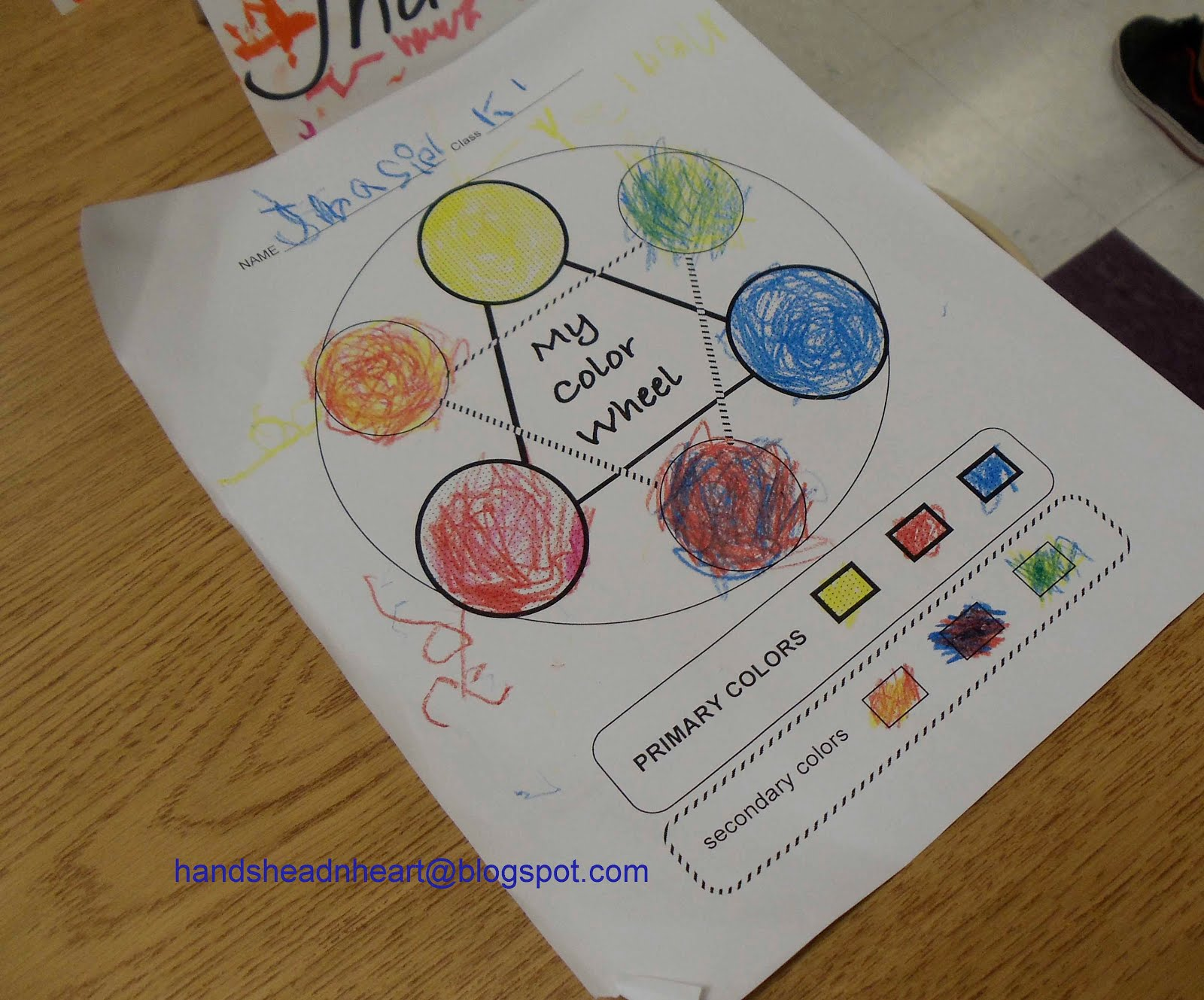 Hands Head N Heart In The Artroom Color Wheels With Kinders And First Graders