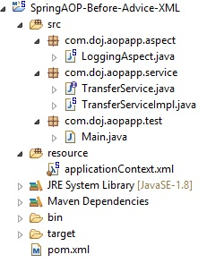 Spring AOP Before Advice Example using XML Config