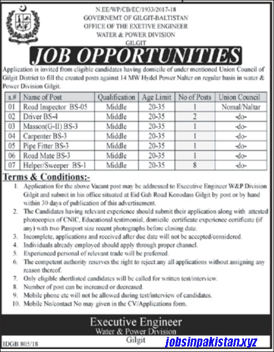 Advertisement for the Ministry of Water and Power Jobs December 2018