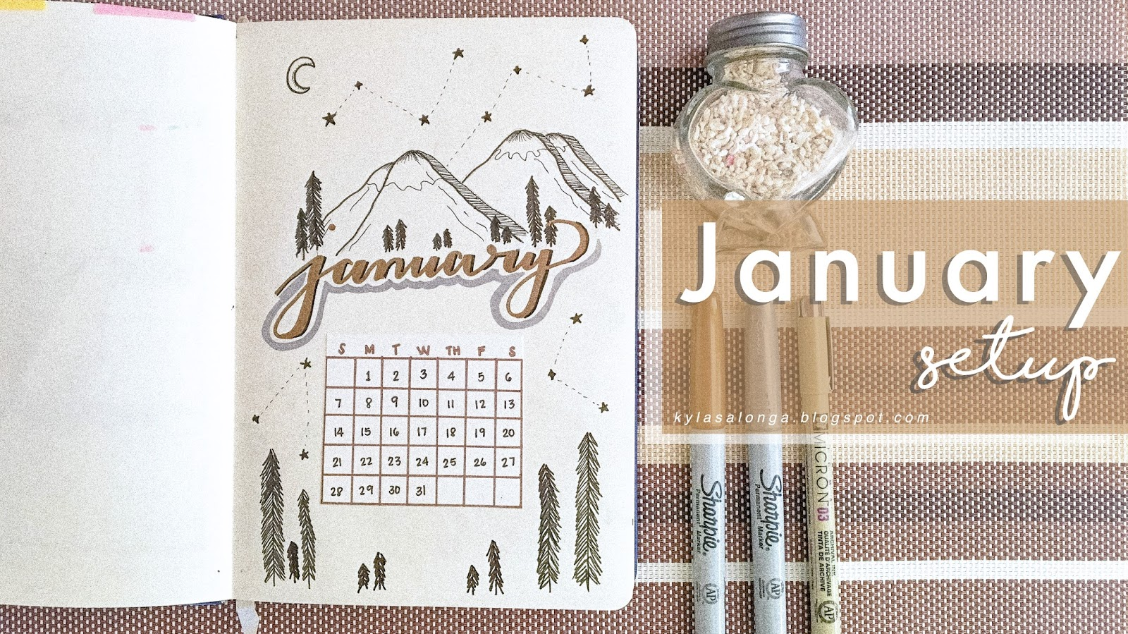 Bullet Journal Monthly Spread January 2018
