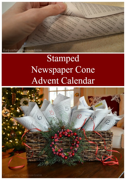 Stamped Newspaper Advent Calendar DIY