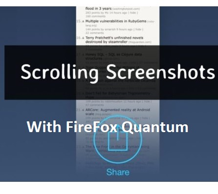 How To Take Scrolling Screenshot With Firefox Quantum
