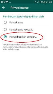 Cara agar status Whatsapp tidak terlihat oleh Pasangan 5