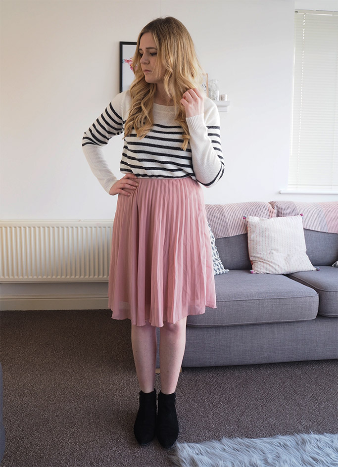 blush pink pleated mini skirt with striped jumper