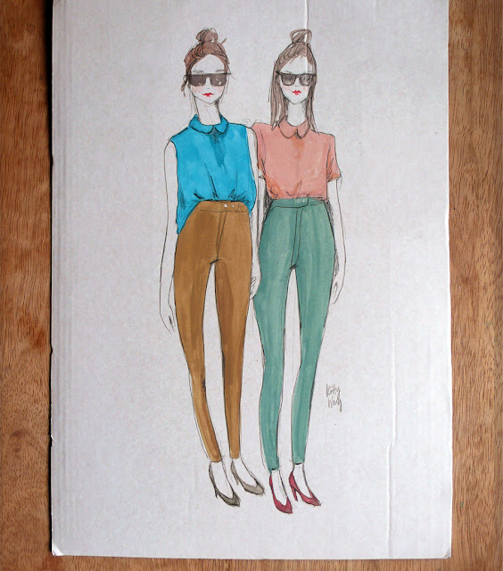 illustration of american apparel hipster twins in sunglasses, peterpan collar and riding pants..