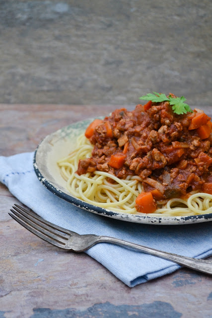 Vegetarian Bolognaise on top of spaghetti