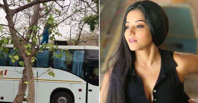 Bhojpuri actress Monalisa Driving a bus for her latest serial Nazar