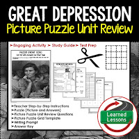 American History Picture Puzzles are great for TEST PREP, UNIT REVIEWS, TEST REVIEWS, and STUDY GUIDES, Great Depression and New Deal
