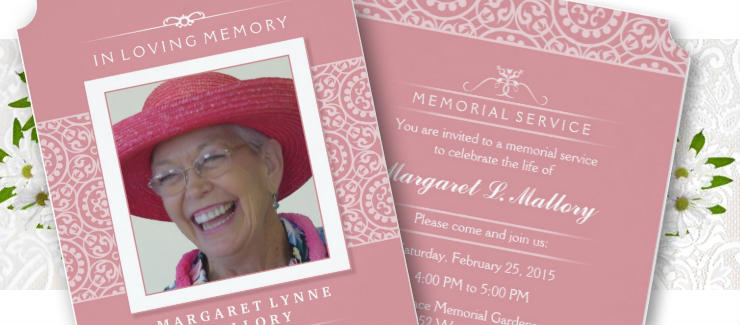 beautiful pink & white ladies memorial service invitation