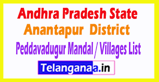 Peddavadugur Mandal Villages Codes Anantapur District Andhra Pradesh State India