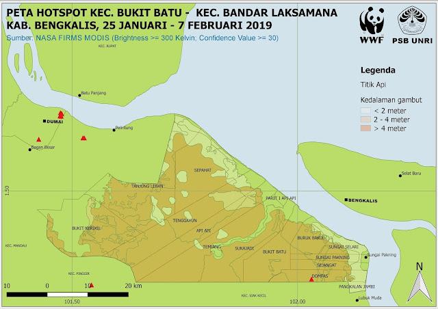 Peta Hotspot Kawasan Bukit Batu-Bandar Laksamana Pada 25 Januari - 7 Februari 2019