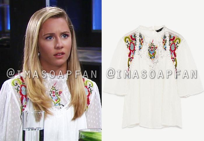 Josslyn Jacks, Eden McCoy, Embroidered Lace-Trimmed White Top, Zara, General Hospital, GH