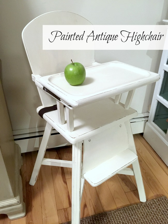 Painted Vintage Baby Highchair with Pinterest overlay