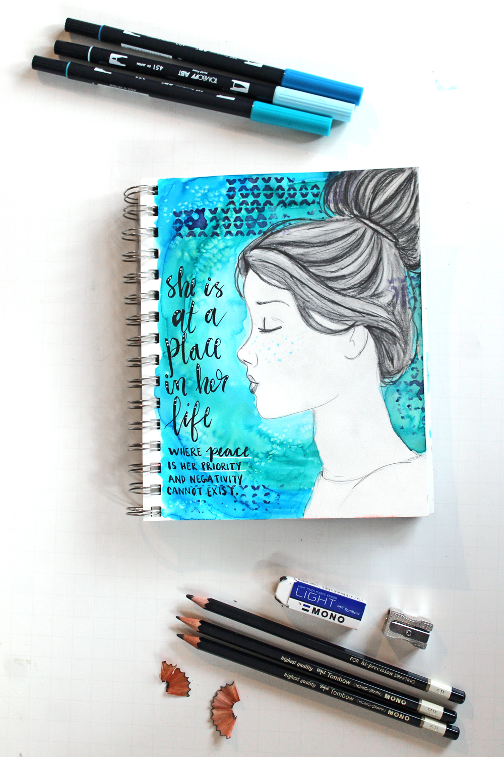 Create a mixed media art journal page using this tutorial by @punkprojects and @Tombowusa products!