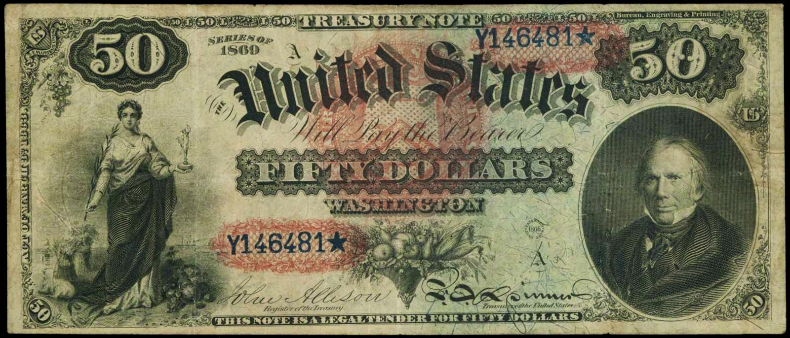 "1869 Fifty Dollar Legal Tender Note ""Rainbow Note""
