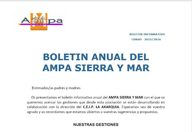 Boletín Anual actividades Ampa