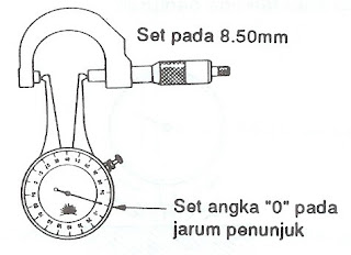 Menyeting califer gauge pada outer micrometer