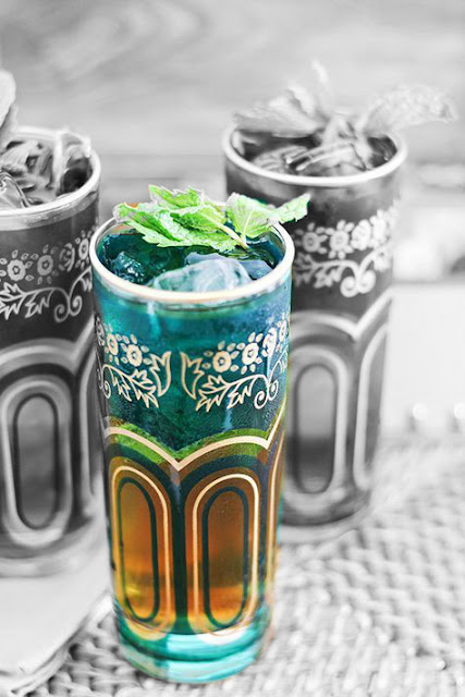 Mint tea in traditional glass