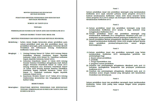 Permendikbud Nomor 160 Tahun 2014 tentang Pemberlakuan Kurikulum Tahun 2006 dan Kurikulum 2013