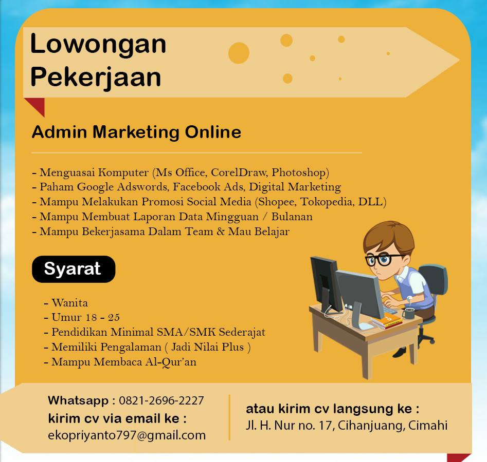Lowongan Kerja Admin Marketing Online Wanita Lowongan Kerja Terbaru Indonesia 2021