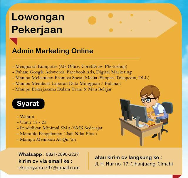 Lowongan Kerja Admin Marketing Online (Wanita)