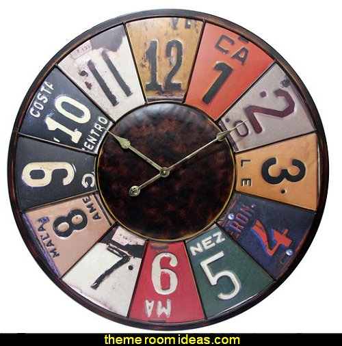 Time Travels License Plate Wall Clock