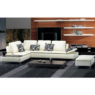 Sectional Sofa and Ottoman By TOSH Furniture (Beige Italian Leather)