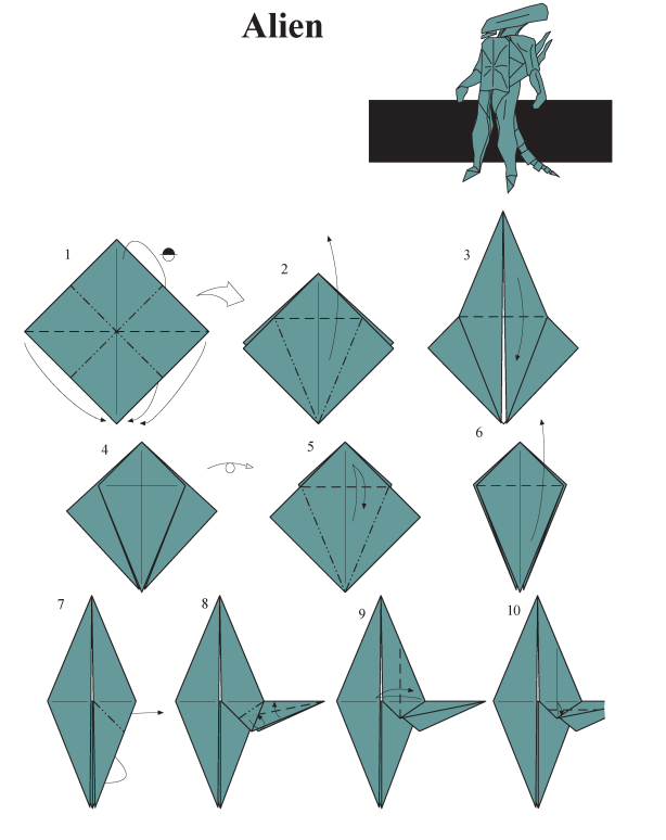 Alien Origami Instructions Craft Ideas And Art Projects