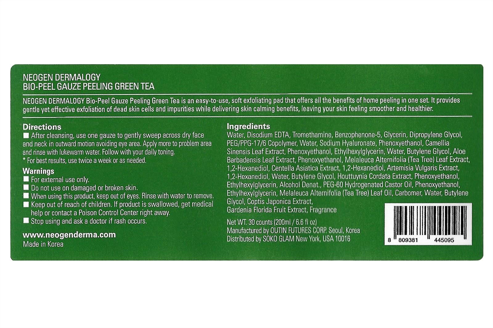 lavlilacs NEOGEN DERMALOGY Bio-Peel Gauze Peeling - Green Tea label