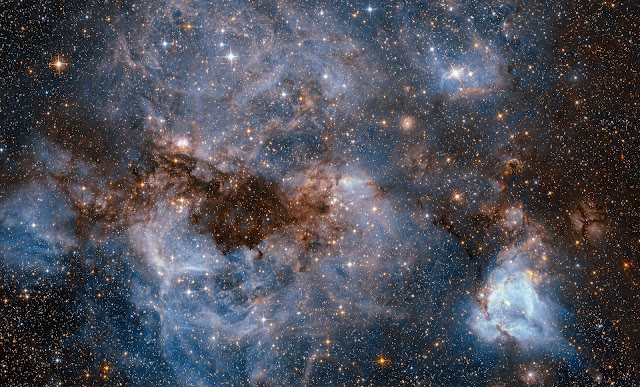 Glowing Gas and Dark Dust in the Large Magellanic Cloud Galaxy