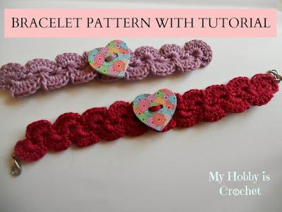Crochet paisley bracelet with heart wooden button
