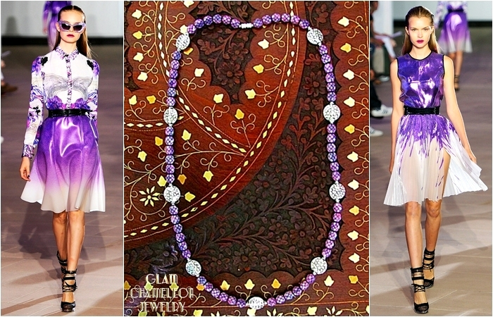 Glam Chameleon Jewelry purple beads and silver hammered coins necklace