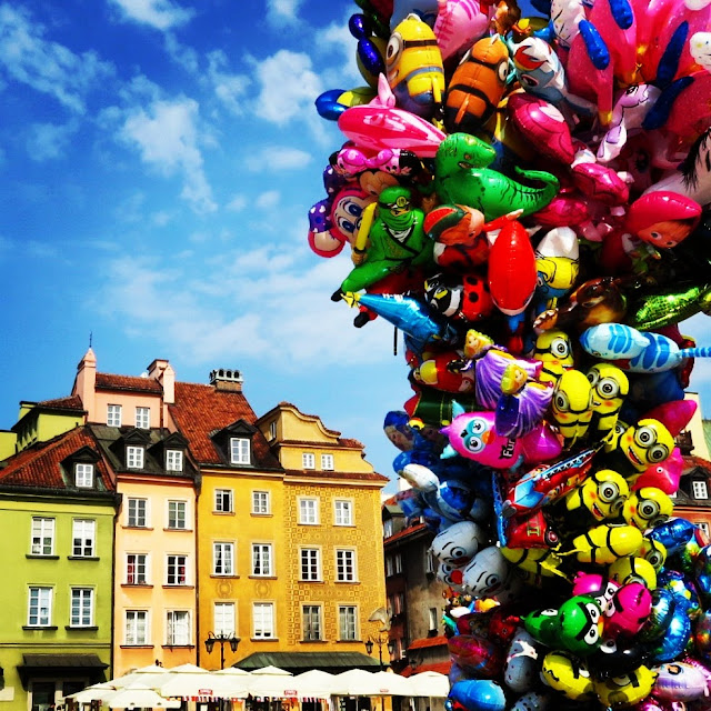 Balloons in Warsaw Poland's Old Town