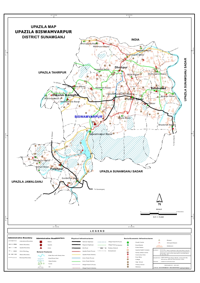 Bishwamvarpur Upazila Map Sunamganj District Bangladesh