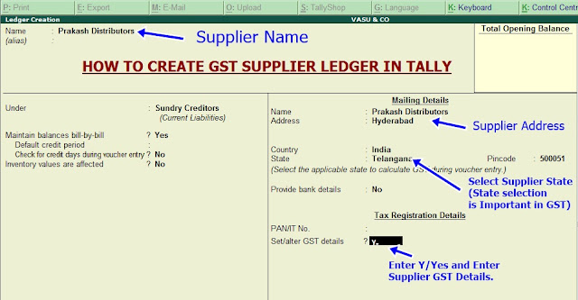 create ledger for gst supplier in tally