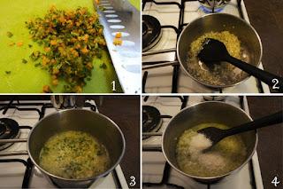 foto preparazione Ricetta risotto alle erbe aromatiche e parmigiano senza brodo per bambini
