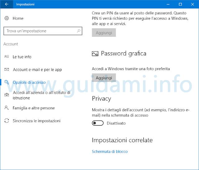Windows 10 opzione per nascondere email utente nella schermata di accesso
