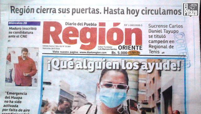 Cerró el Diario Región en el estado Sucre