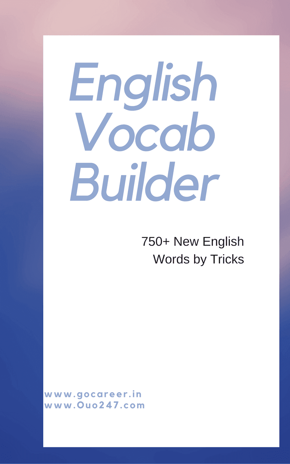 English Vocab Builder With Tricks: Download PDF Ebook - SSC