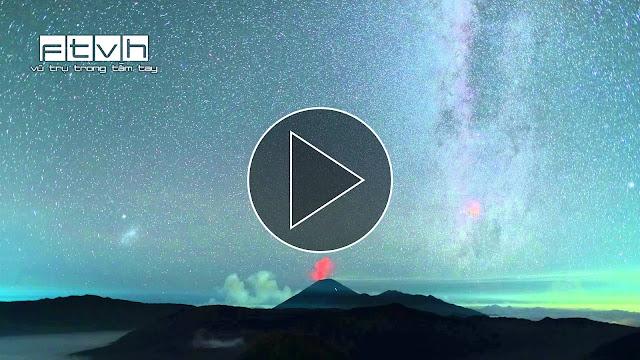 Video timelapse ngày và đêm trên núi lửa ở Indonesia. Credit: Thierry Legault.