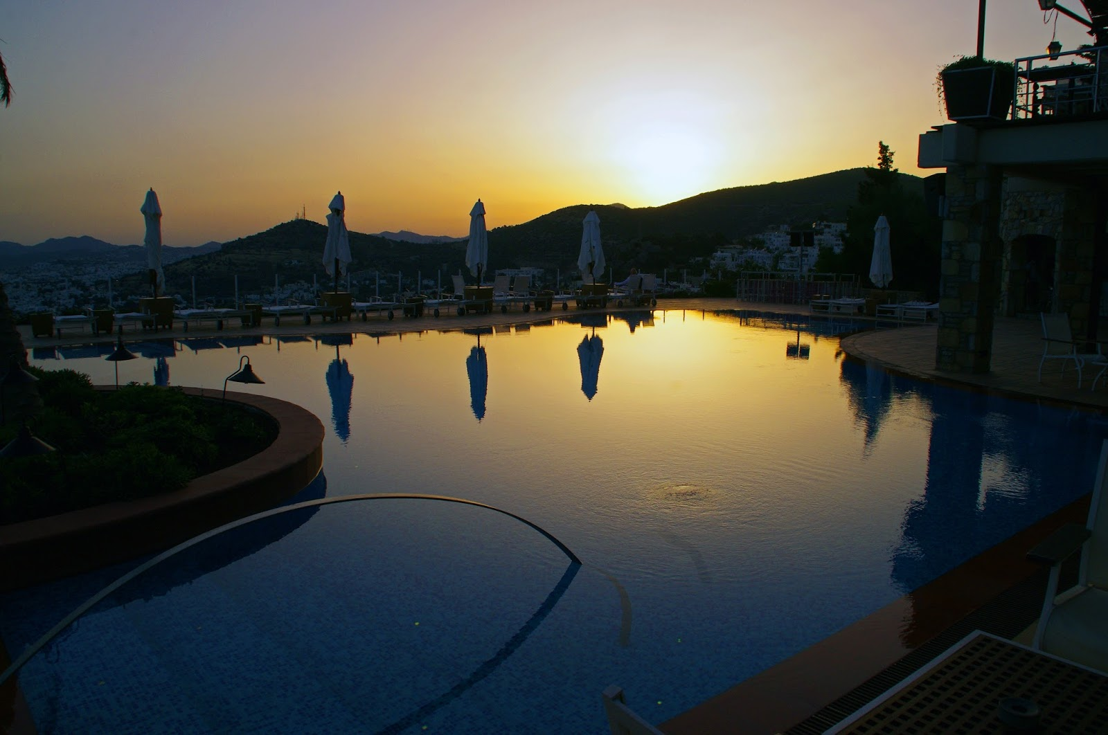 The Marmara Bodrum Swimming Pool at Sunset