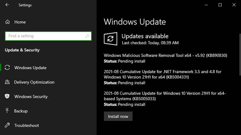 Windows 10 Patch Tuesday update (KB5005033) fixes the PrintNightmare vulnerability