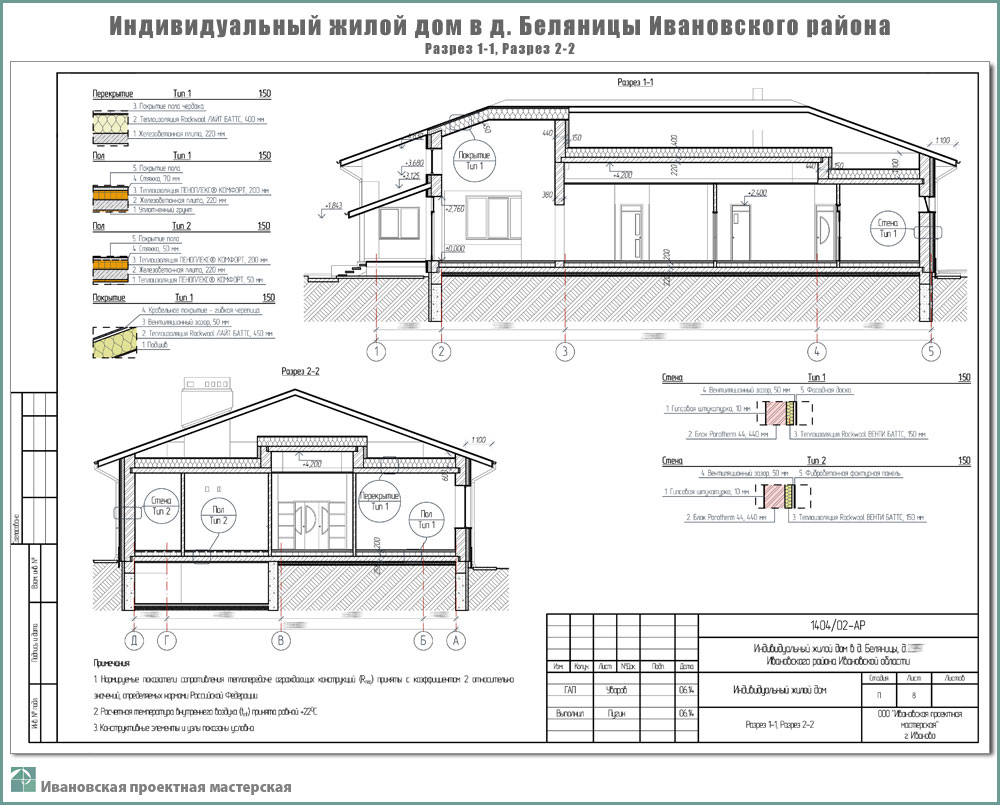 Проект одноэтажного жилого дома в пригороде г. Иваново - д. Беляницы Ивановского района. Разрез