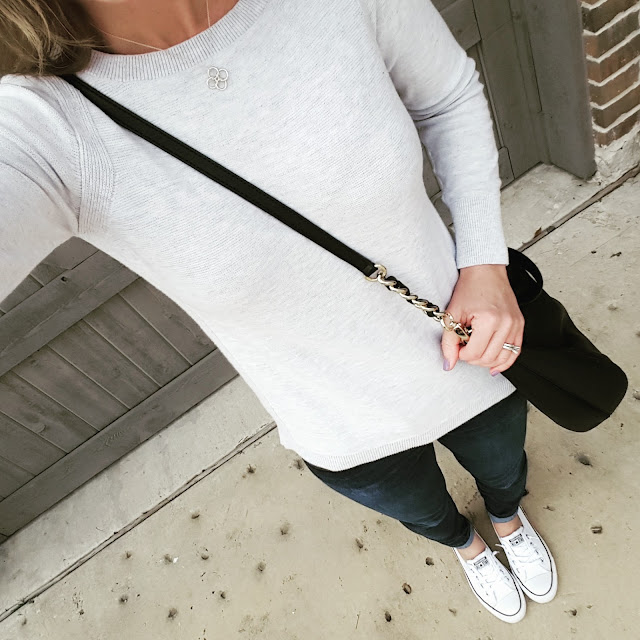 Banana Republic Sweater (sold out - similar on sale for $10, regular $30!) // Joes' Jeans - 33% off!  // Converse Tennis Shoes // Kate Spade Pine Street Kori - 56% off + free shipping!