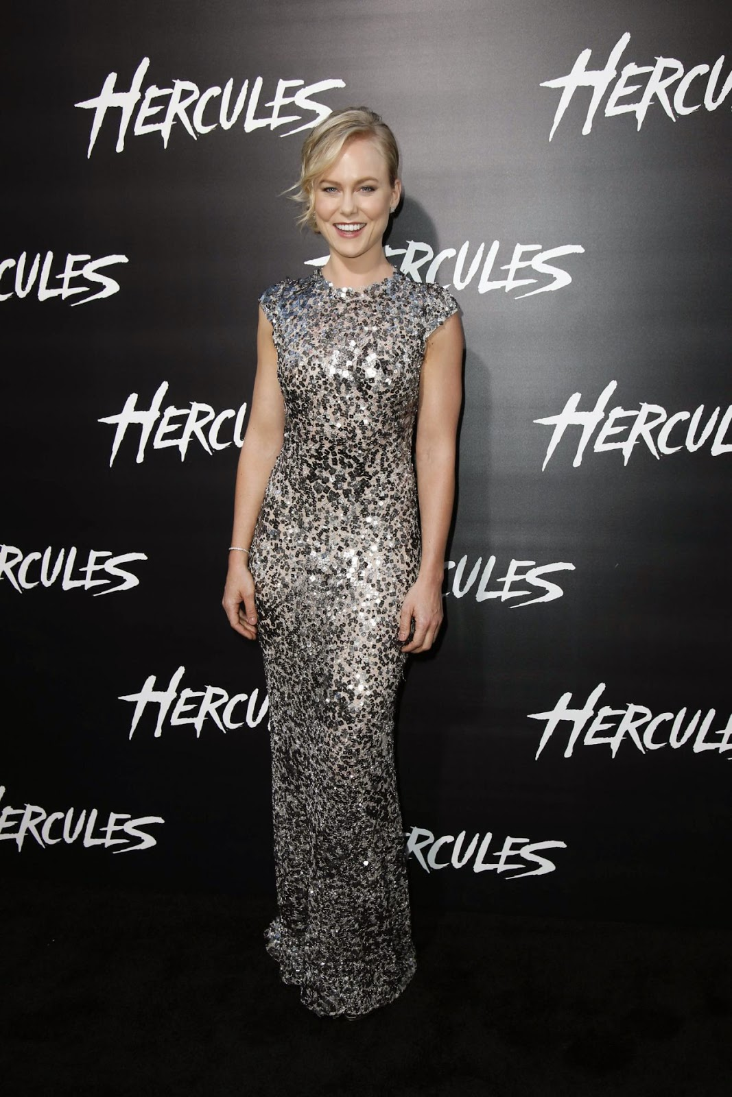 Ingrid Bolso Berdal in a sequinned gown at the 'Hercules' LA premiere