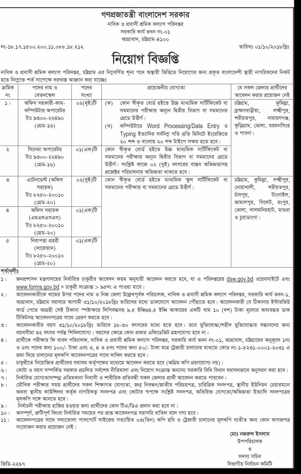 Seamen Welfare & Emigration Directorate Job Circular 2018
